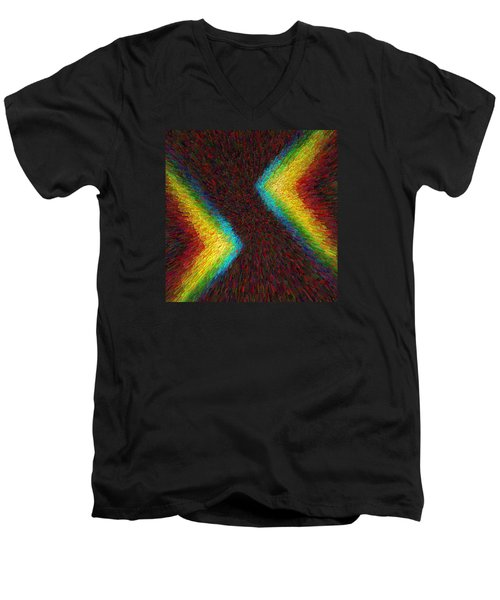 Men's V-Neck T-Shirt featuring the photograph Chevron Double Rainbow C2014 by Paul Ashby