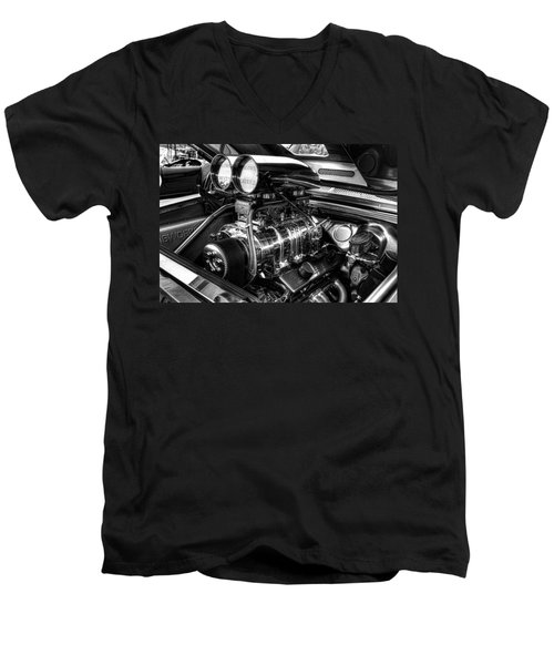 Chevy Supercharger Motor Black And White Men's V-Neck T-Shirt by Jonathan Davison