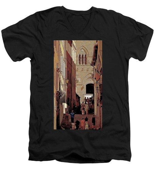 Chiaroscuro Siena  Men's V-Neck T-Shirt by Ira Shander