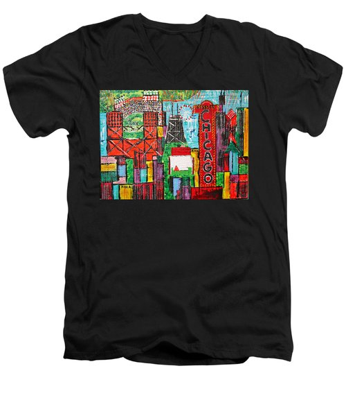 Chicago - City Of Fun - Sold Men's V-Neck T-Shirt by George Riney