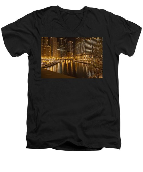Chicago At Night Men's V-Neck T-Shirt