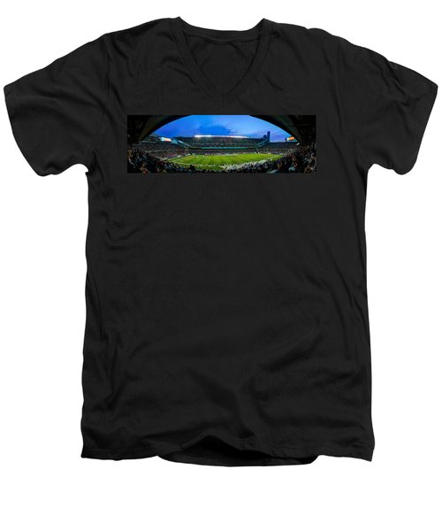 Chicago Bears At Soldier Field Men's V-Neck T-Shirt by Steve Gadomski