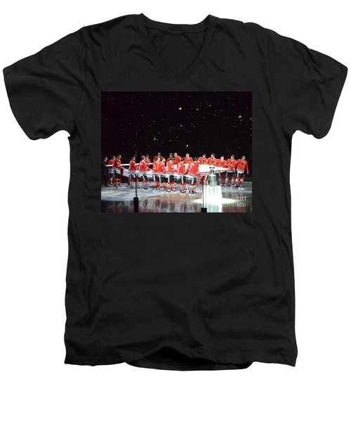 Men's V-Neck T-Shirt featuring the photograph Chicago Blackhawks And The Banner by Melissa Goodrich