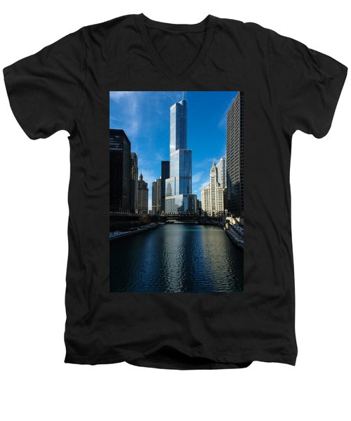 Men's V-Neck T-Shirt featuring the photograph Chicago Blues by Georgia Mizuleva