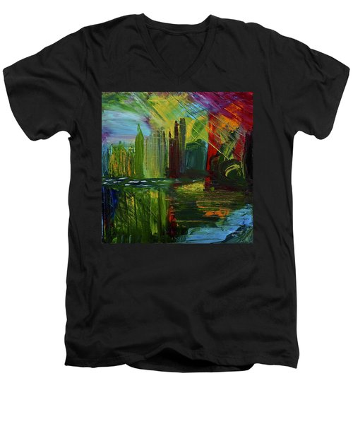 Chicago City Scape Men's V-Neck T-Shirt