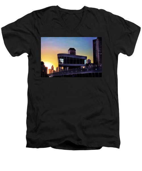 Men's V-Neck T-Shirt featuring the photograph Chicago Lock Tower by John Hansen