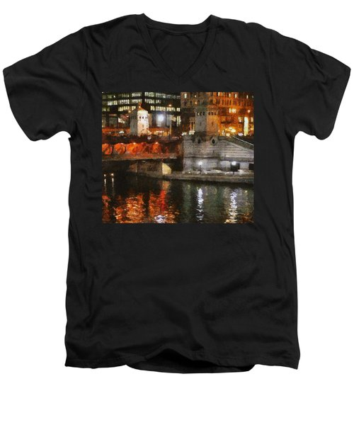 Chicago River At Michigan Avenue Men's V-Neck T-Shirt