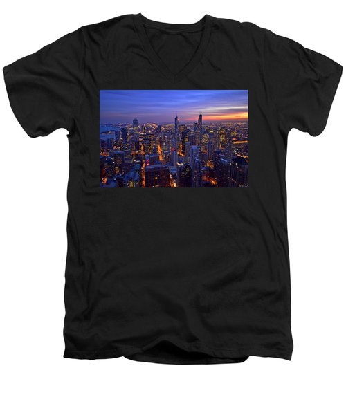 Chicago Skyline At Dusk From John Hancock Signature Lounge Men's V-Neck T-Shirt by Jeff at JSJ Photography