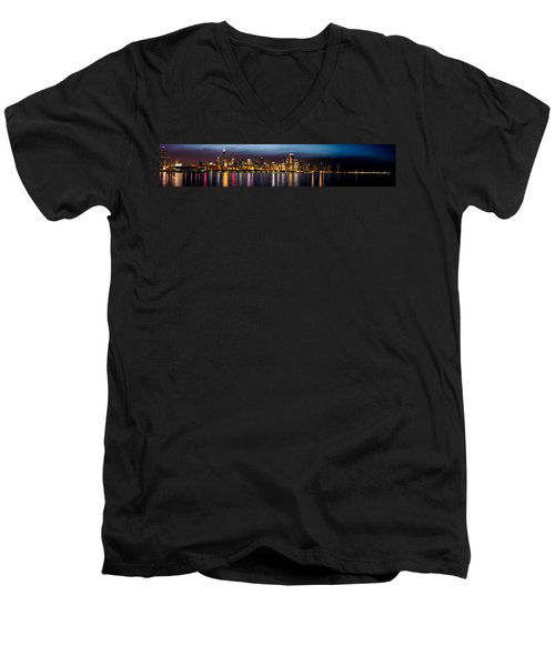 Chicago Skyline At Night Panoramic Men's V-Neck T-Shirt