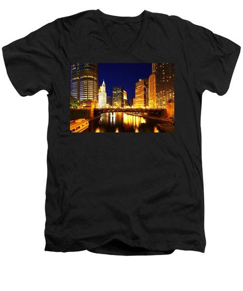 Chicago Skyline Night River Men's V-Neck T-Shirt