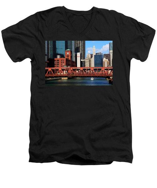 Chicago Skyline River Bridge Men's V-Neck T-Shirt