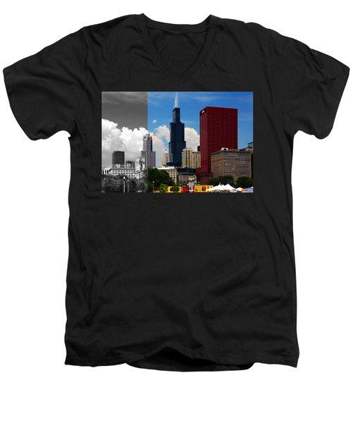 Chicago Skyline Sears Tower Men's V-Neck T-Shirt