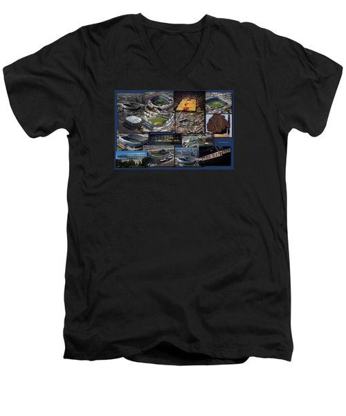 Chicago Sports Collage Men's V-Neck T-Shirt by Thomas Woolworth