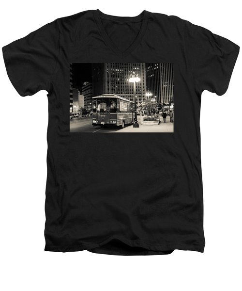 Chicago Trolly Stop Men's V-Neck T-Shirt by Melinda Ledsome