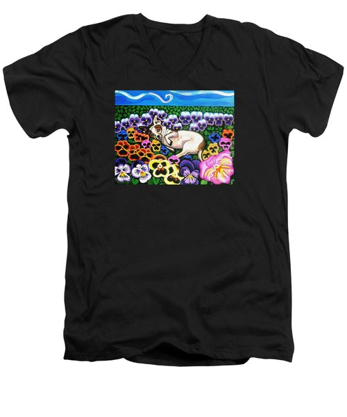 Chihuahua In Flowers Men's V-Neck T-Shirt by Genevieve Esson