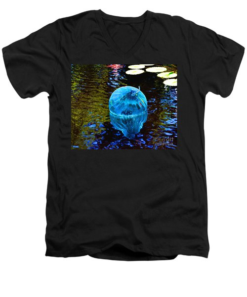 Artsy Blue Glass Float Men's V-Neck T-Shirt