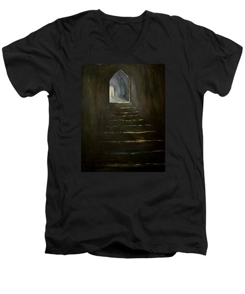 Men's V-Neck T-Shirt featuring the painting Childhood Memories 1 by Jean Walker
