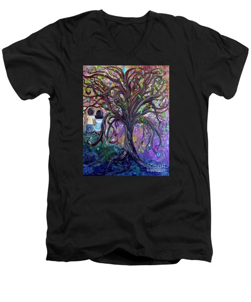 Men's V-Neck T-Shirt featuring the painting Children Under The Fantasy Tree With Jackie Joyner-kersee by Eloise Schneider