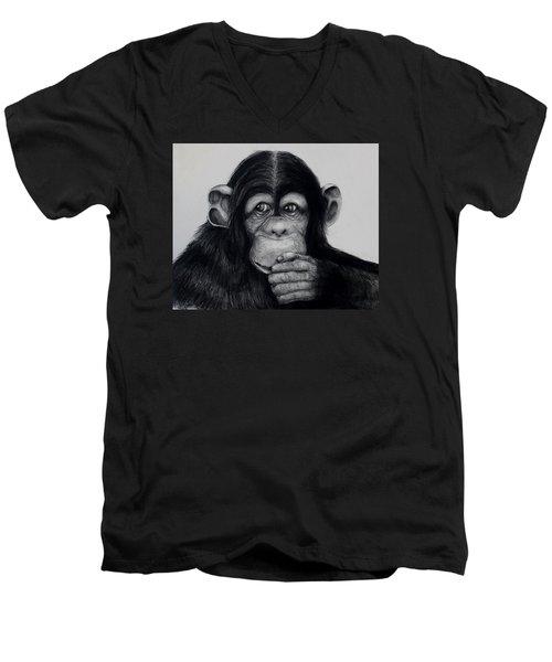 Chimp Men's V-Neck T-Shirt by Jean Cormier