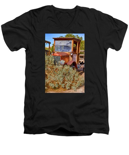Men's V-Neck T-Shirt featuring the photograph China Ranch Truck by Jerry Fornarotto