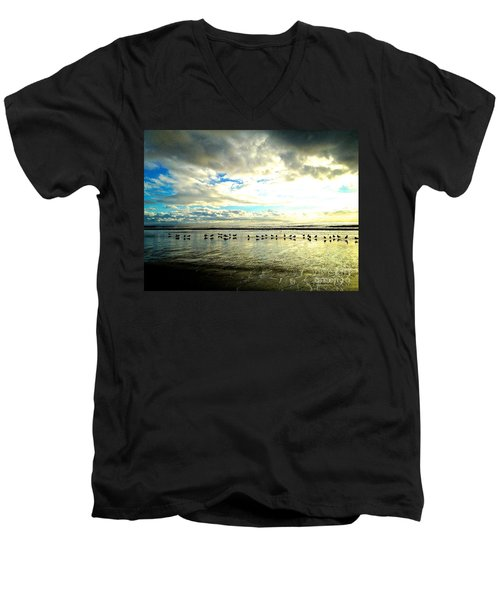Men's V-Neck T-Shirt featuring the photograph A Chorus Line  by Margie Amberge