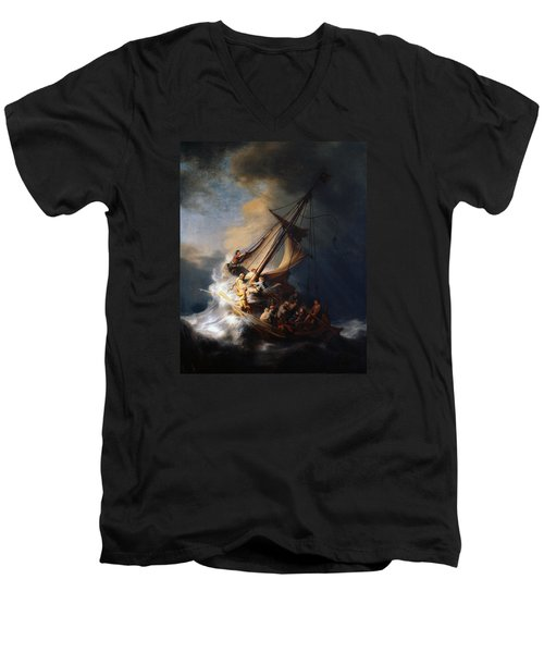 Christ And The Storm Men's V-Neck T-Shirt by Rembrandt