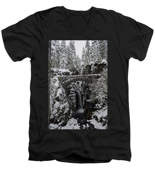 Christine Falls In The Winter Men's V-Neck T-Shirt by Tikvah's Hope