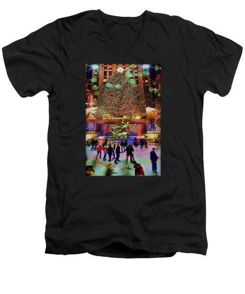 Men's V-Neck T-Shirt featuring the photograph Christmas At The Rock by Chris Lord