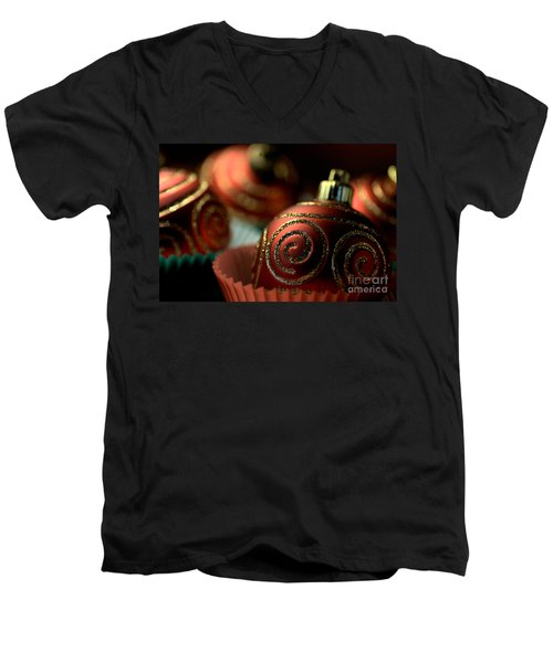 Christmas Bauble Cupcakes Men's V-Neck T-Shirt