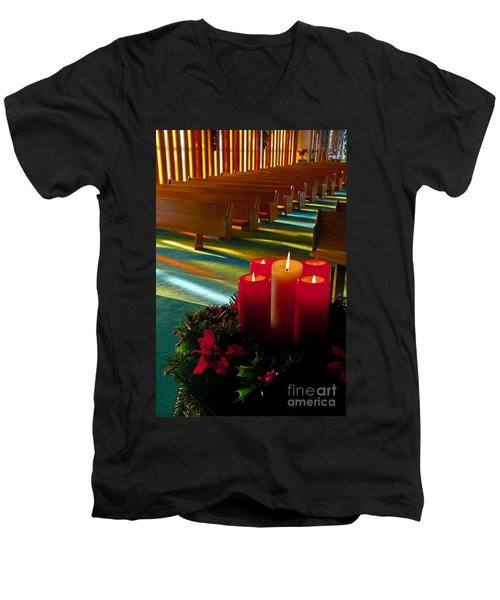 Men's V-Neck T-Shirt featuring the photograph Christmas Candles At Church Art Prints by Valerie Garner