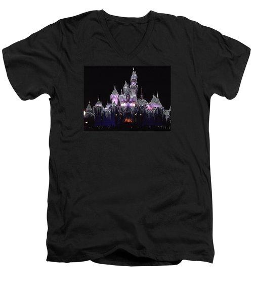 Christmas Castle Night Men's V-Neck T-Shirt by Nadalyn Larsen