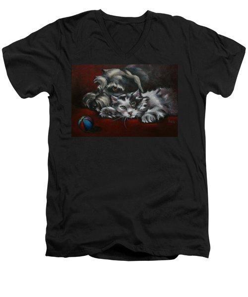 Men's V-Neck T-Shirt featuring the painting Christmas Companions by Cynthia House
