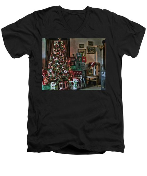 Christmas Men's V-Neck T-Shirt by Denise Romano