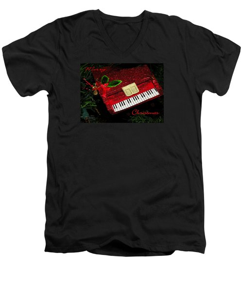 Men's V-Neck T-Shirt featuring the photograph Christmas Piano Card by Rosalie Scanlon