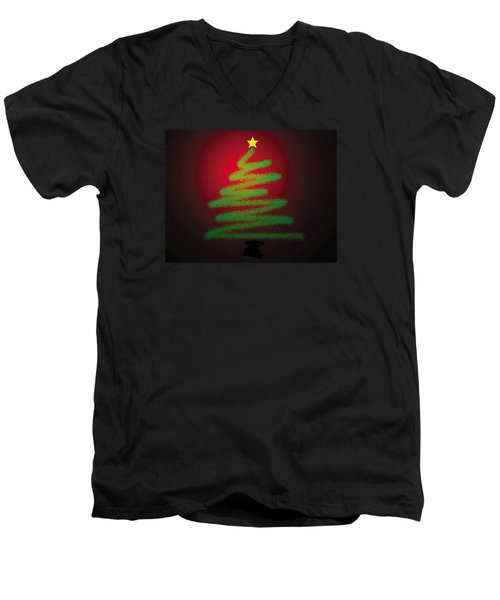 Christmas Tree With Star Men's V-Neck T-Shirt by Genevieve Esson