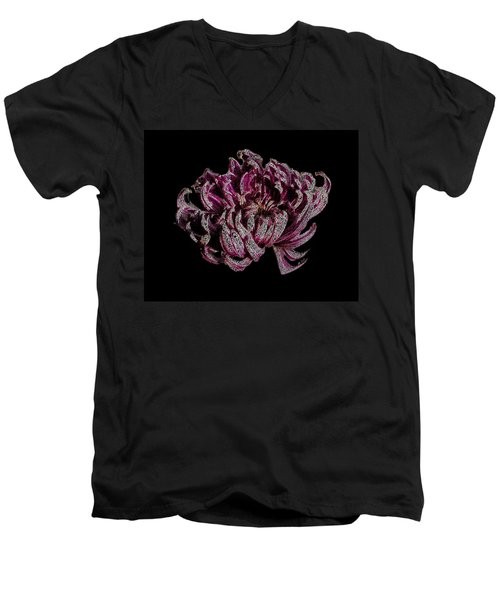 Men's V-Neck T-Shirt featuring the digital art Chrysanthemum Scribble by Stephanie Grant