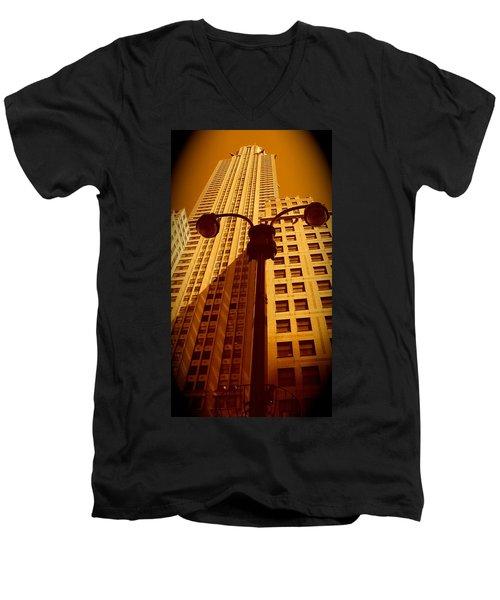 Rockefeller Building In Manhattan Men's V-Neck T-Shirt
