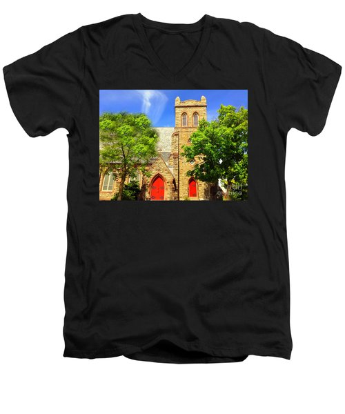 Men's V-Neck T-Shirt featuring the photograph Church And Red Doors by Becky Lupe