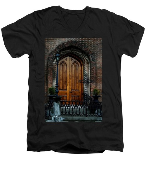 Church Arch And Wooden Door Architecture Men's V-Neck T-Shirt by Lesa Fine
