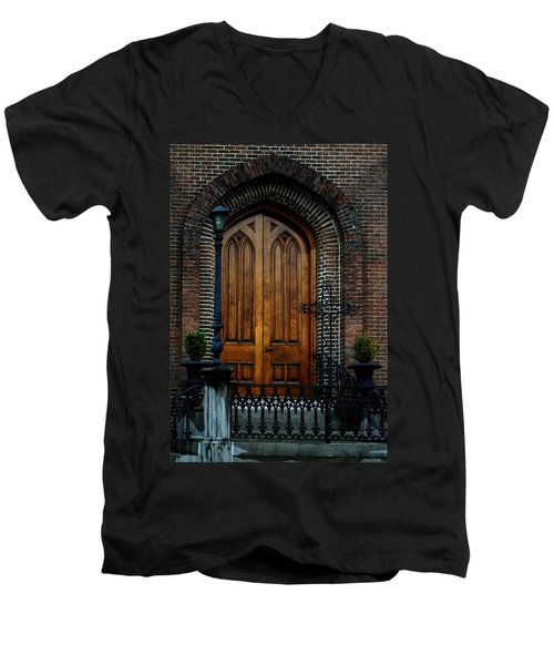 Church Arch And Wooden Door Architecture Men's V-Neck T-Shirt