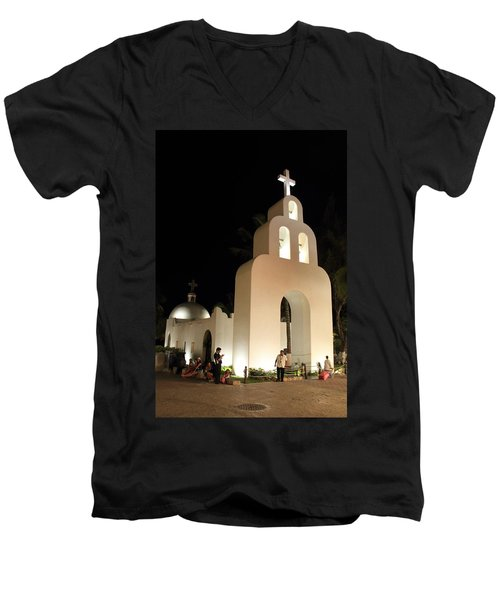 Church At Night In Playa Del Carmen Men's V-Neck T-Shirt by Roupen  Baker