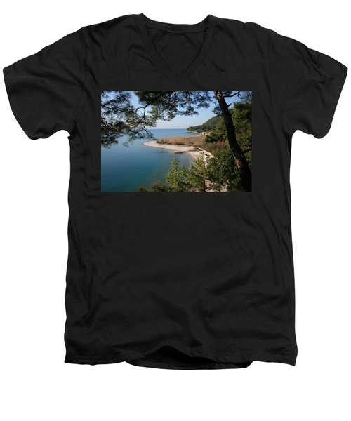 Men's V-Neck T-Shirt featuring the photograph Cinar Beach by Tracey Harrington-Simpson