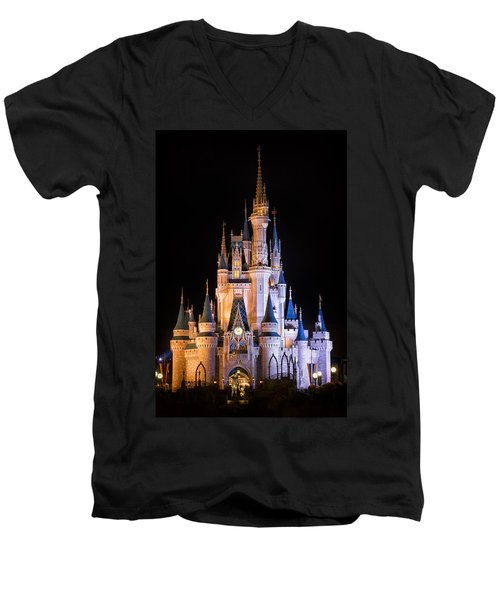 Cinderella's Castle In Magic Kingdom Men's V-Neck T-Shirt