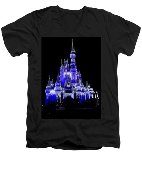Men's V-Neck T-Shirt featuring the photograph Cinderella's Castle by Laurie Perry