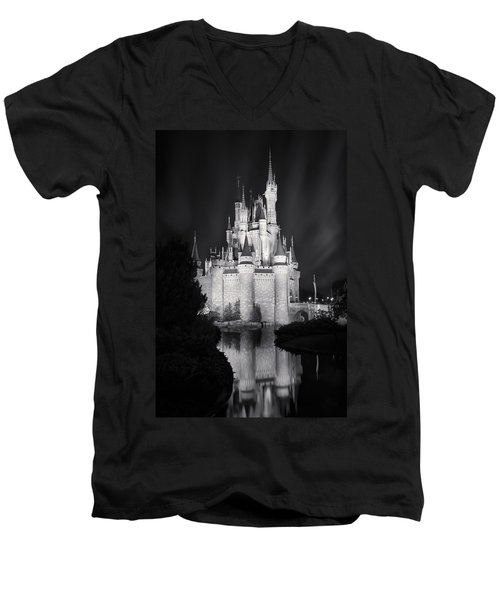 Cinderella's Castle Reflection Black And White Men's V-Neck T-Shirt