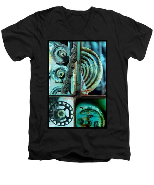 Circle Collage In Blue Men's V-Neck T-Shirt by Fran Riley