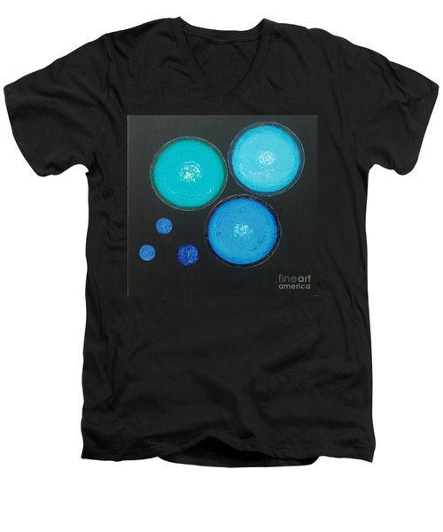 Men's V-Neck T-Shirt featuring the painting Circles Of My Mind by Mini Arora