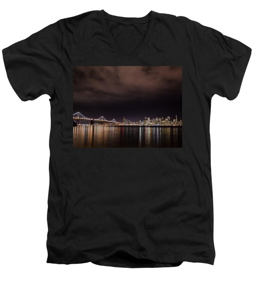 City By The Bay Men's V-Neck T-Shirt by Linda Villers