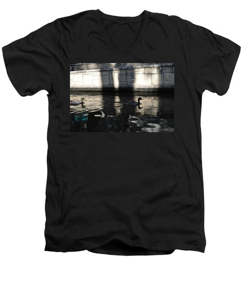 Men's V-Neck T-Shirt featuring the photograph City Ducks by Shawn Marlow