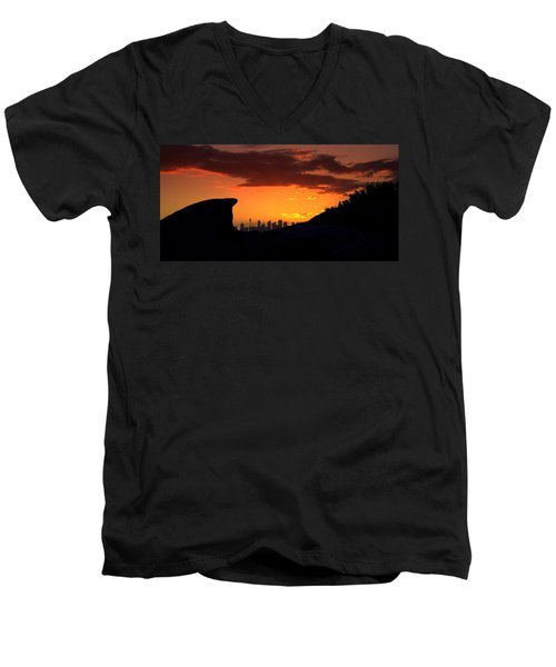 Men's V-Neck T-Shirt featuring the photograph City In A Palm Of Rock by Miroslava Jurcik
